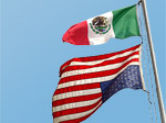 US Flag in distress, subservient to Mexican flag, Los Angeles, 2005